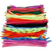 Chenilledraad, L: 30 cm, dikte 5-12 mm, diverse kleuren, 500 div/ 1 doos