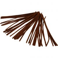 Chenilledraad, L: 30 cm, dikte 6 mm, bruin, 50 stuk/ 1 doos