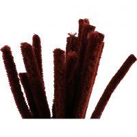 Chenilledraad, L: 30 cm, dikte 15 mm, antiek rood, 15 stuk/ 1 doos