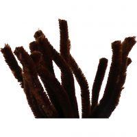 Chenilledraad, L: 30 cm, dikte 15 mm, bruin, 15 stuk/ 1 doos
