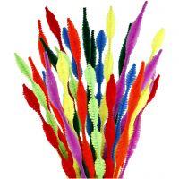 Chenilledraad, gegolfd, L: 30 cm, dikte 5-12 mm, diverse kleuren, 28 div/ 1 doos
