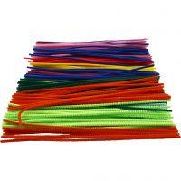 Chenilledraad, L: 30 cm, dikte 4 mm, diverse kleuren, 300 div/ 1 doos