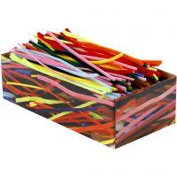 Chenilledraad, L: 30 cm, dikte 4+6+9 mm, diverse kleuren, 700 div/ 1 doos