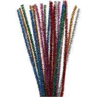 Chenilledraad, L: 30 cm, dikte 6 mm, glitter, sterke kleuren, 24 stuk/ 1 doos