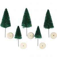 Kerstbomen, H: 40+60 mm, groen, 5 stuk/ 1 doos