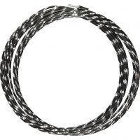 Alu draad, diamond-cut, dikte 2 mm, zwart, 7 m/ 1 rol