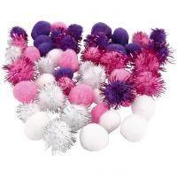 Pompoms, d: 15+20 mm, paars, lichtrood, wit, 48 div/ 1 doos