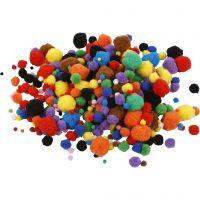 Pom-Poms, d: 5-40 mm, diverse kleuren, 42 gr/ 1 doos