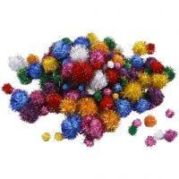 Pom-poms, d: 15-40 mm, glitter, sterke kleuren, 62 gr/ 1 doos