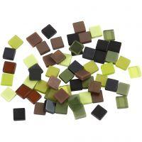 Mini mozaiek, afm 5x5 mm, groen glitter, 25 gr/ 1 doos