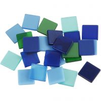Mini mozaiek, afm 10x10 mm, blauw/groen harmonie, 25 gr/ 1 doos
