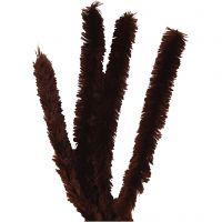 Chenilledraad, L: 40 cm, dikte 30 mm, bruin, 4 stuk/ 1 doos