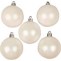 Kerstballen, d: 6 cm, wit, parelmoer, 20 stuk/ 1 doos
