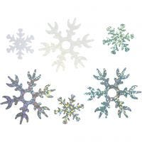 Pailletten, d: 25+45 mm, lichtblauw, zilver, wit, 250 gr/ 1 doos