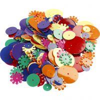 Pailletten, rond, afm 10-25 mm, diverse kleuren, 250 gr/ 1 doos