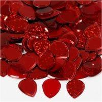 Pailletten, druppel, afm 14x19 mm, rood, 50 gr/ 1 doos