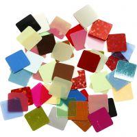Folie mozaiektegels, afm 10x10 mm, diverse kleuren, 10 gr/ 1 doos