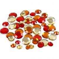 Strasstenen, rond, afm 6+9+12 mm, rode harmonie, 360 stuk/ 1 doos