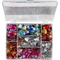 Strasstenen in display box, rond, sterren, harten, d: 6+7+9+10+11+12+14+16 mm, blauw, roze, zilver, 300 stuk/ 1 doos