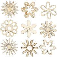 Hout decoratie, bloemen, afm 28 mm, 45 stuk/ 1 doos