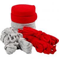 Rondgebreide tube, B: 10-40 mm, Inhoud kan variëren , grijs, rood, 50 m/ 1 doos