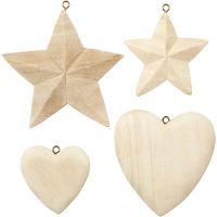 Harten en sterren, 4 stuk/ 1 doos