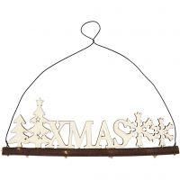Kerstdecoratie, XMAS, H: 7 cm, diepte 0,5 cm, B: 22 cm, 1 stuk