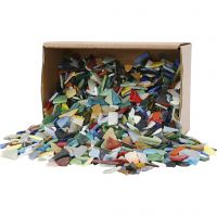 Mozaiek, afm 8-20 mm, dikte 2-3 mm, diverse kleuren, 2 kg/ 1 doos