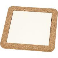 Onderzetter met lijst van kurk, afm 15,5x15,5x1 cm, wit, 2 stuk/ 1 doos