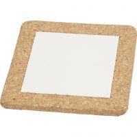 Onderzetter met lijst van kurk, afm 15,5x15,5x1 cm, wit, 10 stuk/ 1 karton
