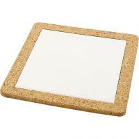 Onderzetter met lijst van kurk, afm 19x19x1,1 cm, wit, 10 stuk/ 1 karton