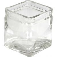 Vierkant glas, H: 8 cm, afm 7,5x7,5 cm, 12 stuk/ 1 karton