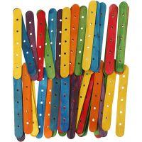 Constructiehoutjes, L: 15 cm, B: 1,8 cm, gatgrootte 4 mm, diverse kleuren, 500 div/ 1 doos