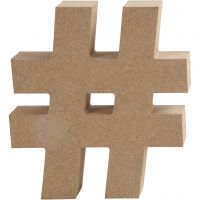 Symbool van MDF, #, H: 13 cm, dikte 2 cm, 1 stuk