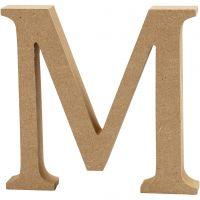 Letter, M, H: 13 cm, dikte 2 cm, 1 stuk