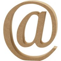 Symbool van MDF, @, H: 13 cm, dikte 2 cm, 1 stuk