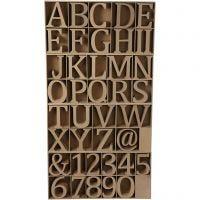 Houten letters, cijfers en tekens, H: 13 cm, dikte 2 cm, 160 stuk/ 1 doos