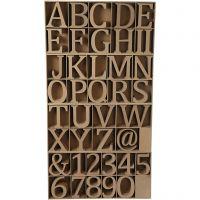 Houten letters, cijfers en tekens, H: 8 cm, dikte 1,5 cm, 240 stuk/ 1 doos