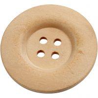 Houten knopen, d: 40 mm, gatgrootte 3 mm, 4 gaten, 6 stuk/ 1 doos