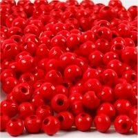 Houten kralen, d: 5 mm, gatgrootte 1,5 mm, rood, 6 gr/ 1 doos, 150 stuk