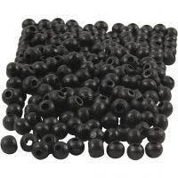 Houten kralen, d: 5 mm, gatgrootte 1,5 mm, zwart, 6 gr/ 1 doos, 150 stuk
