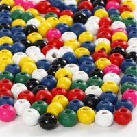 Houten kralen, d: 4 mm, gatgrootte 1,5 mm, diverse kleuren, 6 gr/ 1 doos