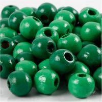 Houten kralen, d: 12 mm, gatgrootte 3 mm, groen, 22 gr/ 1 doos