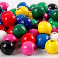 Houten kralen, d: 12 mm, gatgrootte 3 mm, diverse kleuren, 22 gr/ 1 doos