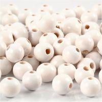 Houten kralen, d: 8 mm, gatgrootte 2 mm, wit, 15 gr/ 1 doos, 80 stuk