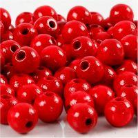Houten kralen, d: 8 mm, gatgrootte 2 mm, rood, 15 gr/ 1 doos, 80 stuk