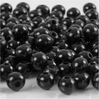 Houten kralen, d: 8 mm, gatgrootte 2 mm, zwart, 15 gr/ 1 doos, 80 stuk