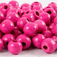 Houten kralen, d: 10 mm, gatgrootte 3 mm, roze, 20 gr/ 1 doos, 70 stuk