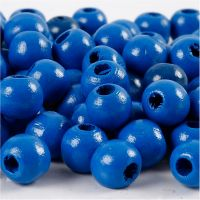 Houten kralen, d: 10 mm, gatgrootte 3 mm, blauw, 20 gr/ 1 doos