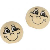 Houten ballen met gezichten, d: 12 mm, licht beige, 20 stuk/ 1 doos
